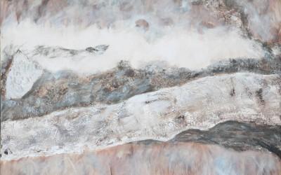 23/12 Mühlbachsee, Collage Erde, Papier
