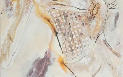 129/15 MT Acryl, Papier, Sand, Glaspartikel